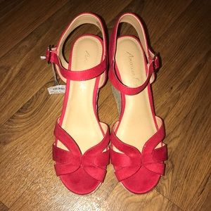 Red strapy wedges
